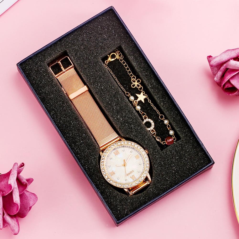 2021 Luxury Fashion Rose Gold Women Watch Gift Box Lady Wrist Watch Mesh Female Clock Gift For Women