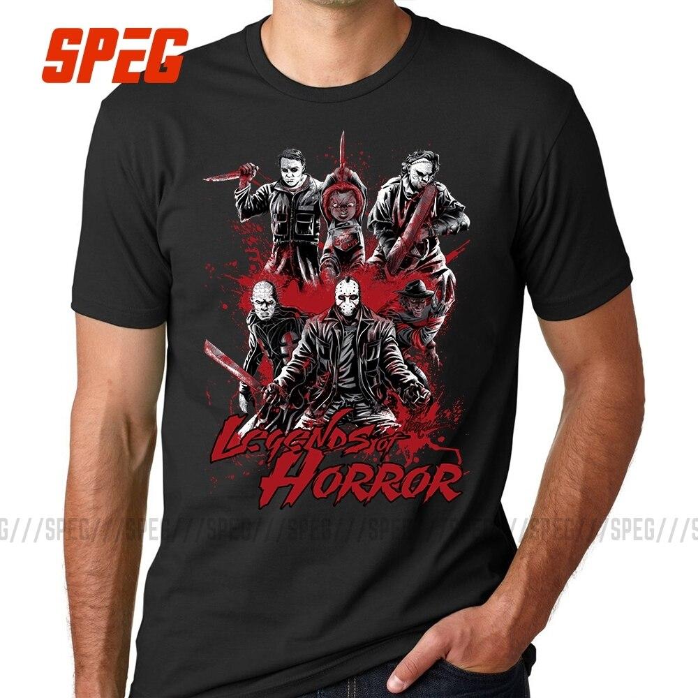 Camiseta Legends of Horror película Viernes 13 Jason Voorhees Freddy para hombre Camiseta 100% de algodón Tops cuello redondo Camiseta de talla grande