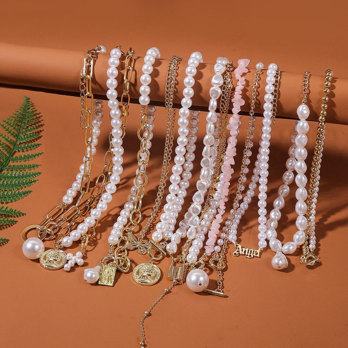 Женское винтажное ожерелье с жемчугом, ожерелье с цветными бусинами