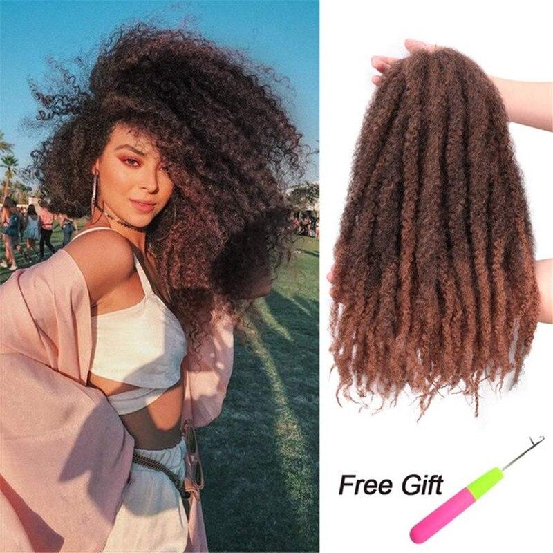 Kong&Li 18 inch Marley Braids Hair Crochet Afro Kinky Synthetic Braiding Hair Crochet Braids Hair Extensions Bulk Black Brown
