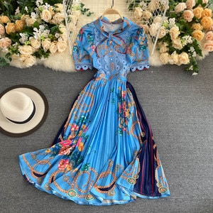Lady New Fashion Short Sleeve Bow Collar Lace Stitching Pleated Elegant Dress Women Print  High Street  A-Line Vestidos H890