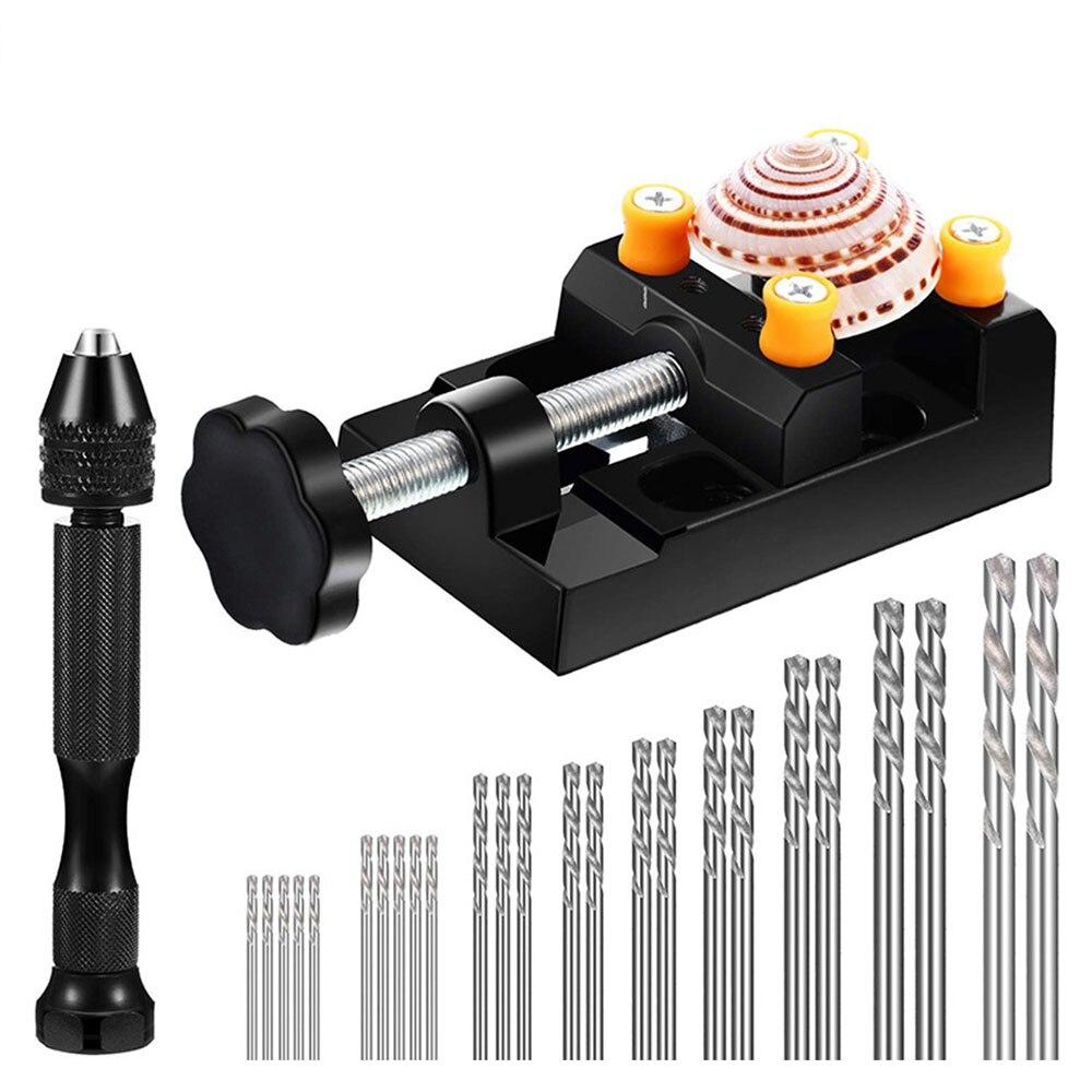 27 Uds Mini Micro espiral juego de brocas mano taladro Pin tornillo Herramienta de sujeción para joyería de madera Jin Gang acero de alta velocidad 0,5 ~ 3,0mm Bit