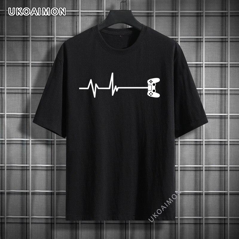 Осенние футболки в стиле ретро с изображением пульса для геймеров, футболки из 100% хлопка в стиле хип-хоп, удобные Молодежные футболки, футбо...