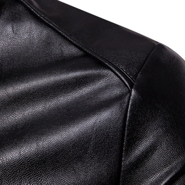 The New Spring And Autumn 2021 Men's Korean Version Slim-Fitting Stand-Up PU Leather Jacket Plus Size M-5XL 6