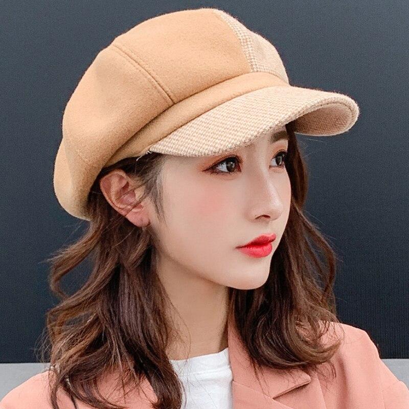 Sombrero a cuadros boina gorra de lana sombrero Casual octogonal invierno mujeres sombrero cálido tartán Patchwork Newsboy Cap boina para mujer mujeres niñas