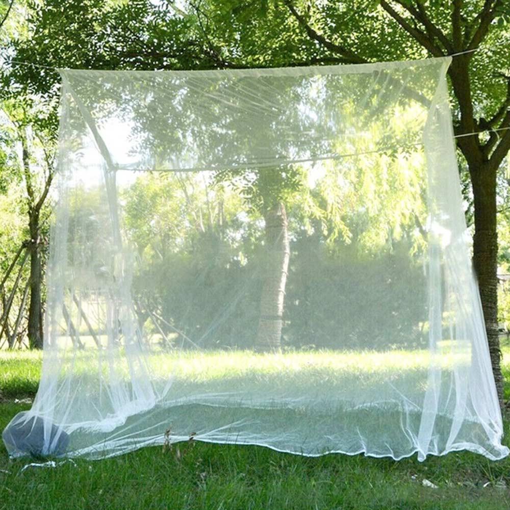 Mosquitera cuadrada blanca para acampar para dormir, mosquitera ligera, tienda de campaña portátil para exterior y noche, cama de princesa con encaje para senderismo y verano
