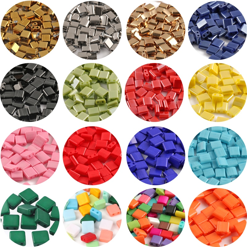 50pcs/lot 5*5*2mm Two Hole Glass Seed Beads Miyuki Tila Loose Spacer for Jewelry Making Diy Bracelet Necklace Accessories