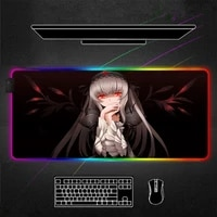 anime girl red eyes rgb mouse pad black gaming accessories led mousepad large with backlit alfombrilla xxl gamer decoracion