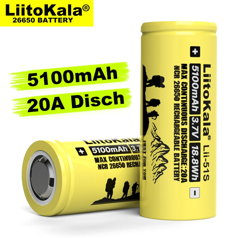 aliexpress - 1-10PCS Liitokala LII-51S 26650 20A power rechargeable lithium battery 26650A , 3.7V 5100mA .  Suitable for flashlight