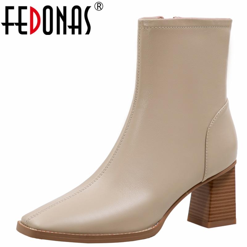 FEDONAS ناضجة موجزة موضة الخريف الشتاء النساء حذاء من الجلد جلد طبيعي مكتب سيدة عالية الكعب الأساسية أحذية امرأة