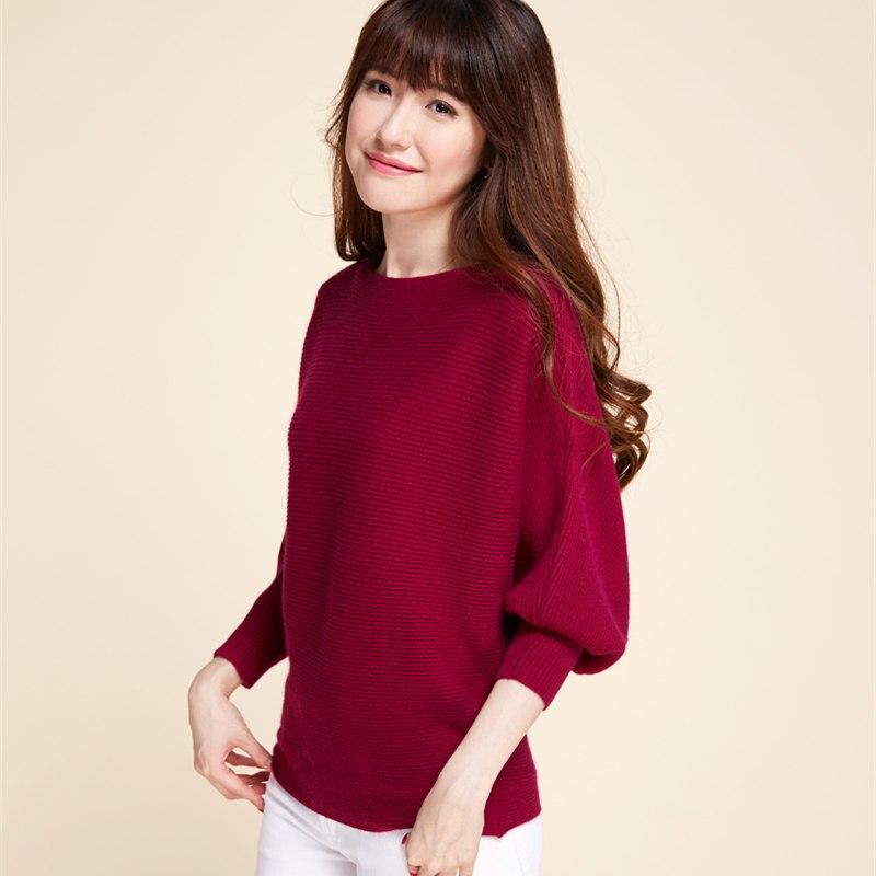LITVRIYH suéter de cachemira cuello Barra de murciélago de manga de las mujeres suéter de punto superior suéter de punto para mujer Jersey ropa