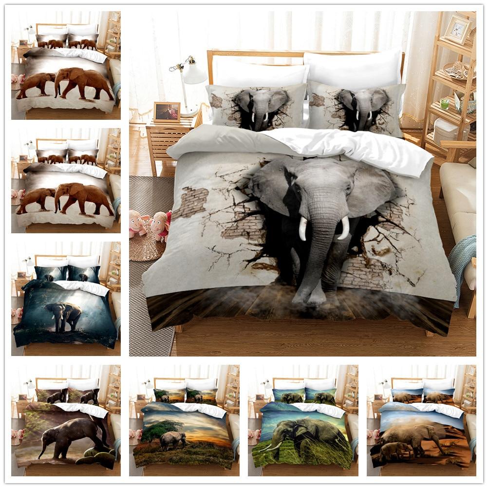 الفيل الحيوان طقم سرير المعزي مجموعة غطاء واحد كامل الملكة الملك الحجم البوليستر المنسوجات غرفة المنزل حاف الغطاء