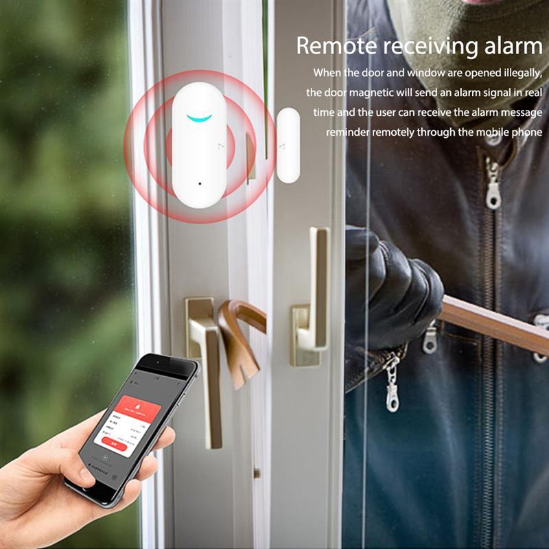 Detecteur intelligent douverture fermeture de porte  wi-fi  controle avec application sans fil  alarme de fenetre  pour Google Home  Alexa  Tuya