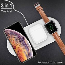 Airpower 3 em 1 10W Titular Carregador Sem Fio Pad Qi Carregador Sem Fio para Apple Relógio 4 3 2 1 para telefones móveis Carregador Rápido