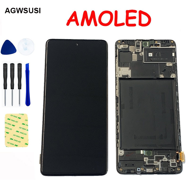 Pantalla LCD AMOLED para Samsung Galaxy A71, A715, A715F, A715FD, módulo de pantalla LCD, pantalla táctil, Sensor digitalizador, marco de montaje