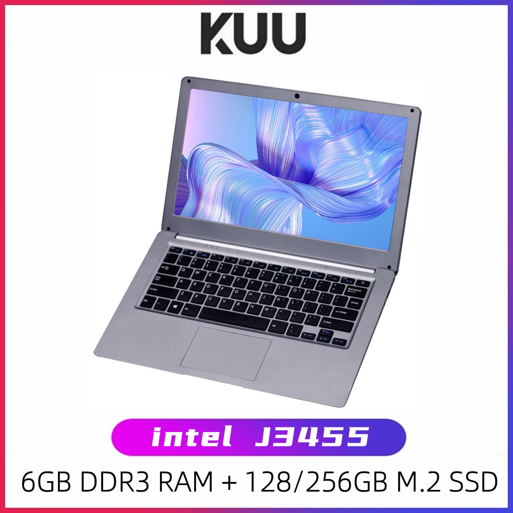 Review KUU 13.3 inch Student Laptop 6GB RAM 256GB SSD Notebook For intel J3455 Quad Core Ultrabook With Webcam Bluetooth WiFi Office