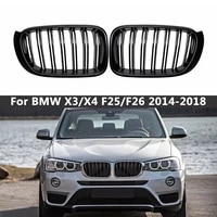 a pair for bmw f25 f26 x3 x4 2014 2018 bumper gloss matt black m color 2 line slat racing grill grille front kidney grills