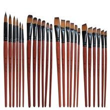 6 Pçs/set Cabelo Nylon Pincel Tinta Aquarela Pincel Pintura A Óleo Pintura Artesanato Brown Acrílico Pincéis Artista Estudantes Canetas de Desenho