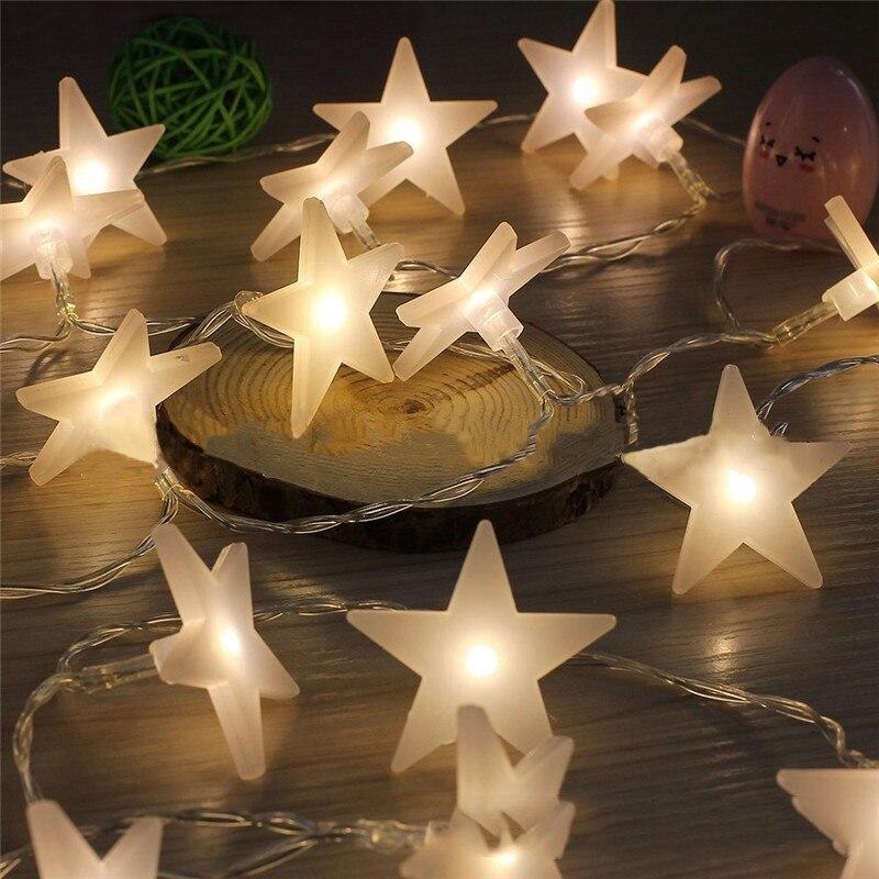 Pentagrama-Cadena de luces LED de Navidad, decoración de fiesta de jardín, energía...