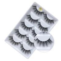 5 pairsset of 3d artificial mink false eyelashes thick long eyelashes handmade false eyelashes eye makeup extension tool