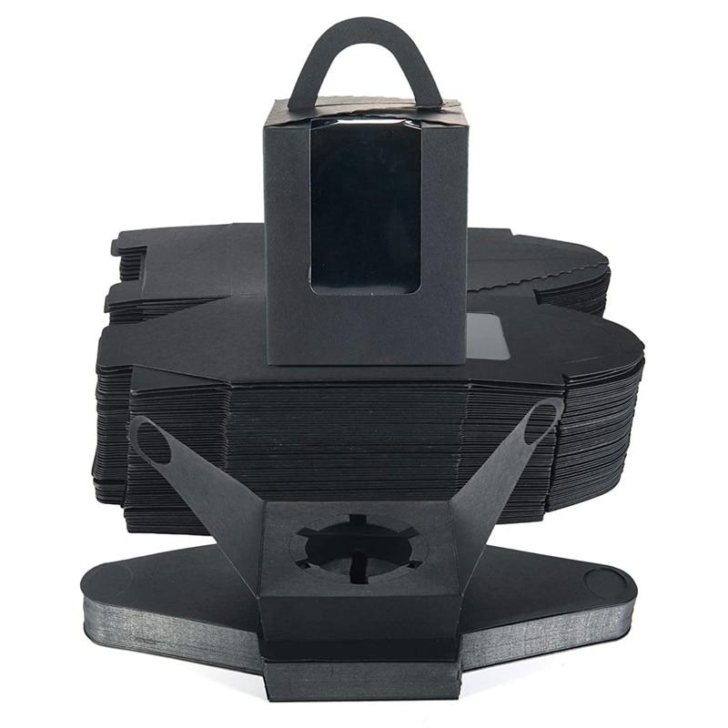 صندوق كب كيك ، 60 صندوق كيك ، مع جيب إدراج ، مقبض ونافذة ، حامل كب كيك ورق كرافت ، مناسب ل Biscuite