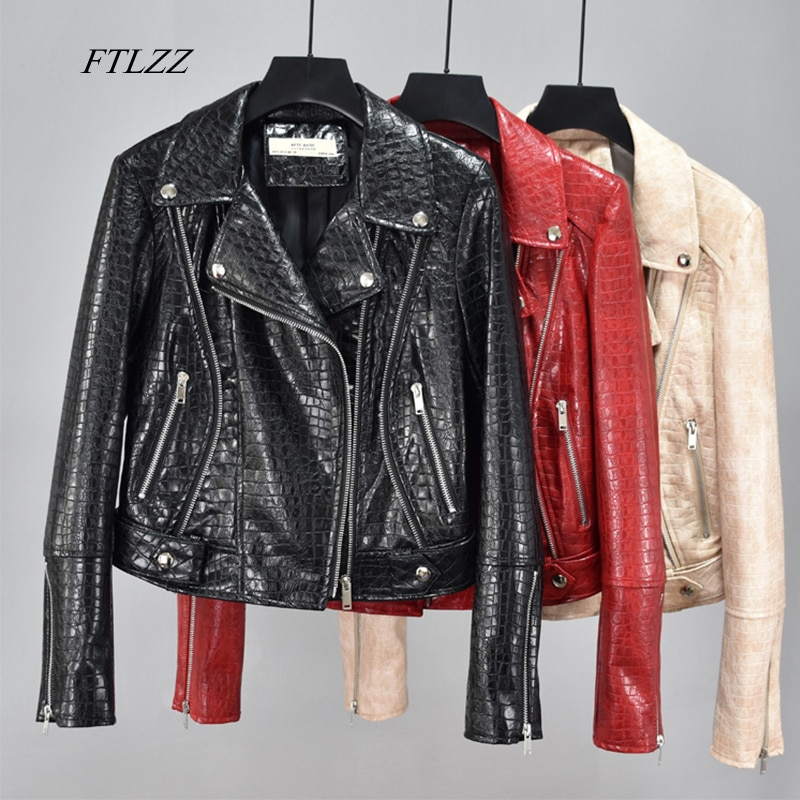 FTLZZ Autumn Women Faux Soft Leather Basic Jackets Pu Motorcycle Rivet Zipper Bright Skin Coat Street Black Red Punk Outerwear