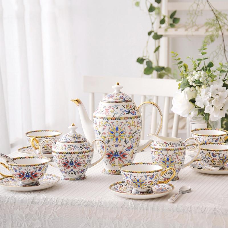 Bohemia-磁器製コーヒーセット,上質な骨,お茶セット,砂糖鍋,牛乳タンク,家庭用,豪華なギフト