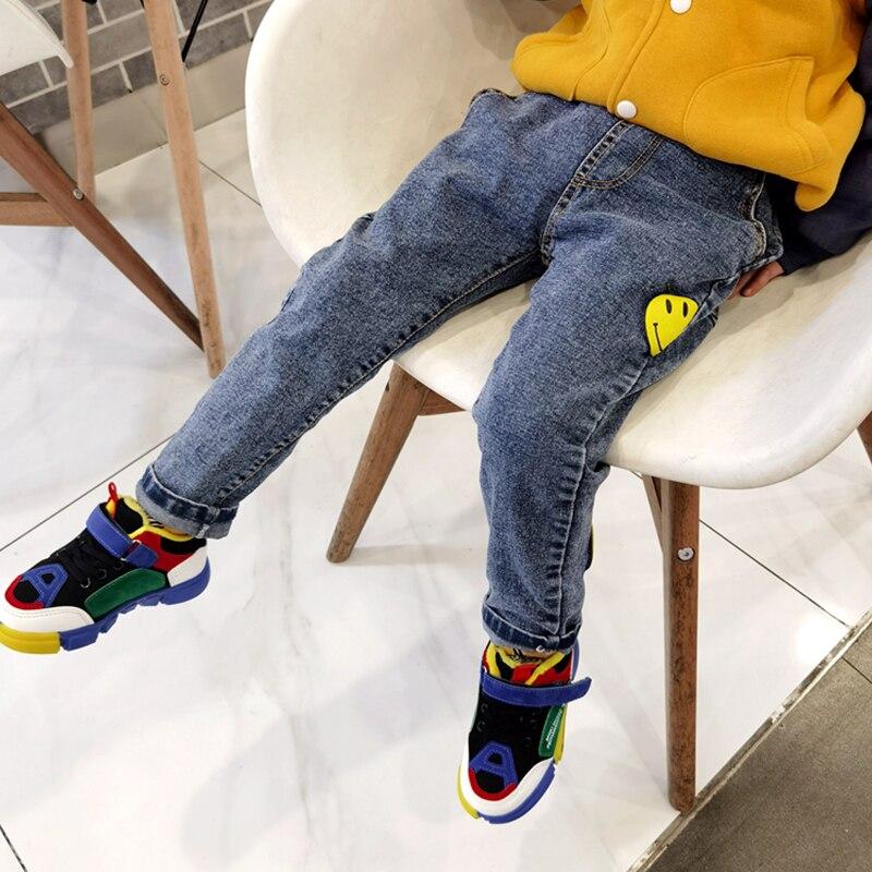 IENENS Slim Jeans Boys Pants Fit 95-150 CM Elastic Waist Denim Trousers Autumn Kids Girl Stretch Jeans Child Clothes