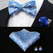 Conjunto de pajarita Floral con pañuelo para hombres Paisley cuadrado formal de bolsillo para hombres Color rojo cielo azul negro dorado para boda