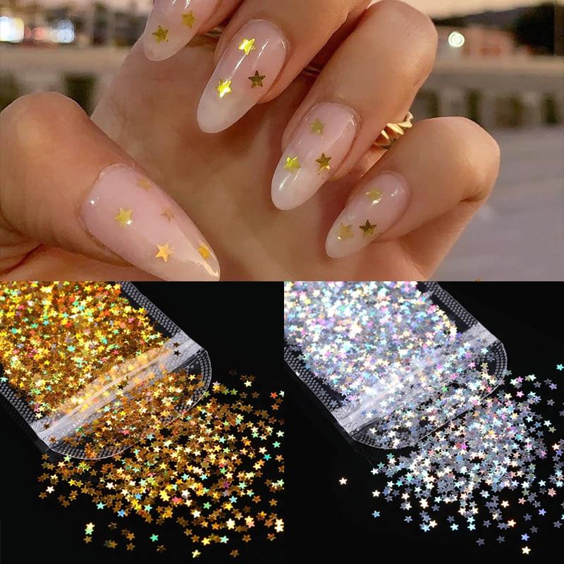 Laser or argent ongles paillettes holographiques étoiles vernis flocons Palliette Mini coloré ongles paillettes poudre décoration paillettes