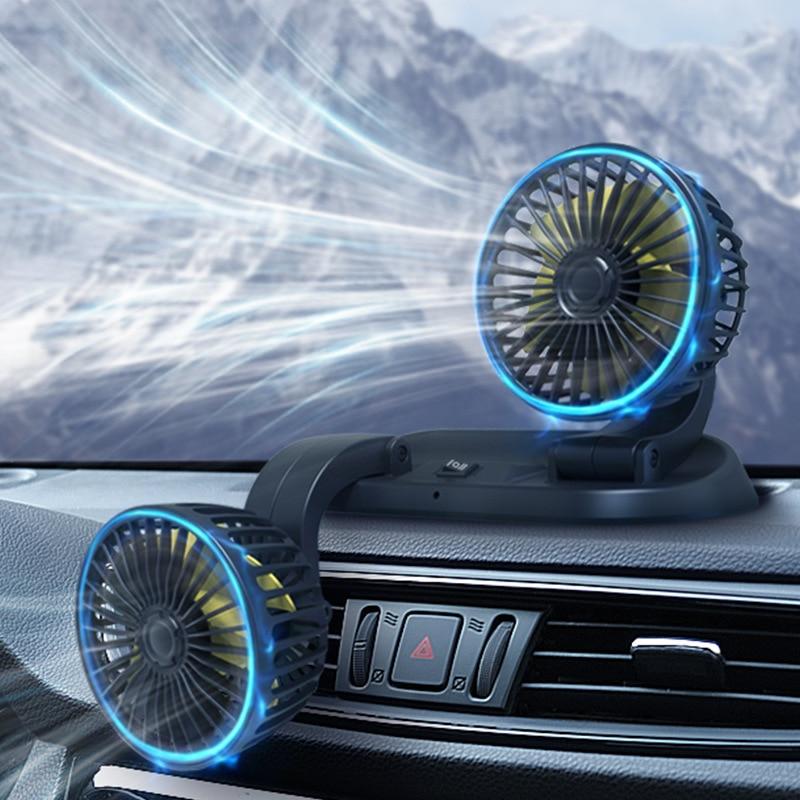 Car Fan USB Tuyere Creative 12V/24V Air Acondicionado Portatil Para Automovil Double-headed Auto Ventilador Cooling