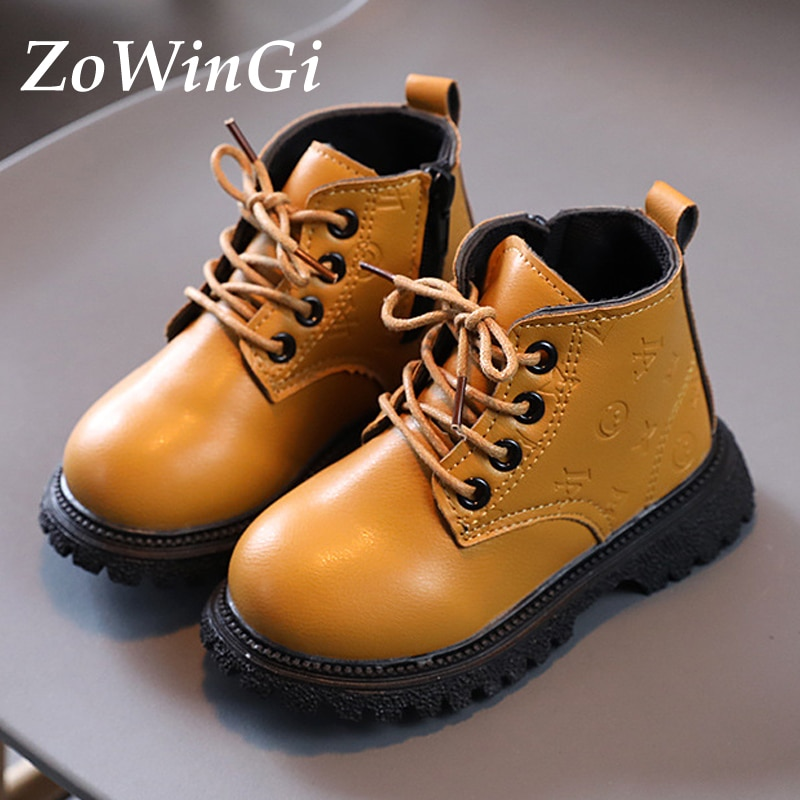 Size 21-30 Children Martin Boots Baby Toddler Shoes Winter Boys Non-slip Shoes Girls British Style Boots Kids Warm Short Boots