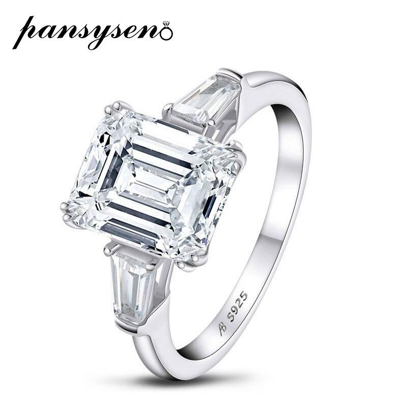 Anillos de plata sólida 925 PANSYSEN para mujer, joyería de compromiso de boda de diamante de 3CT, Anillos de Color blanco dorado
