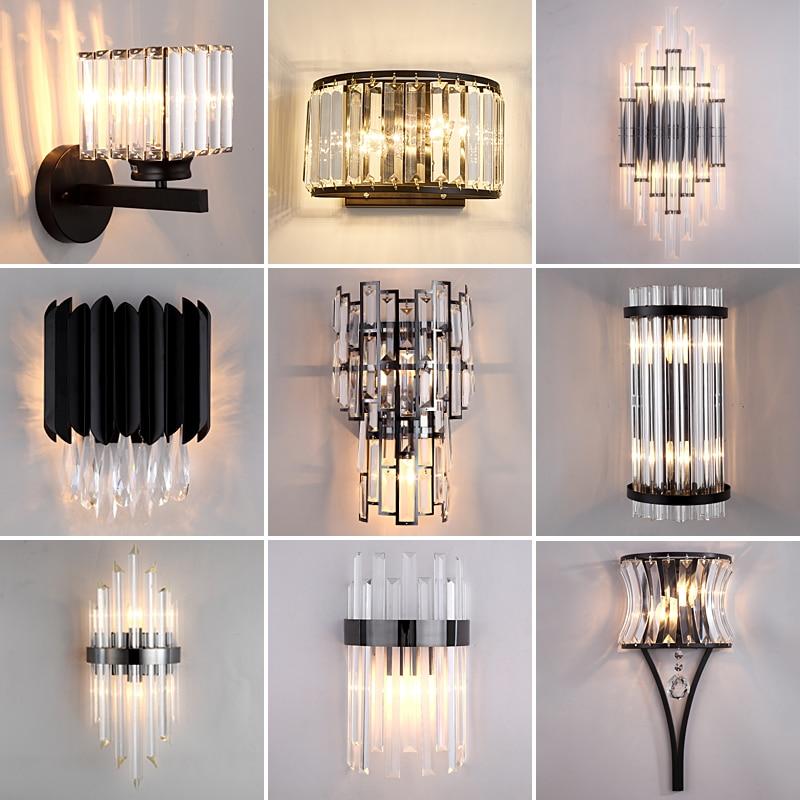 JMZM الحديثة كريستال مصباح جداري LED الأسود الشمعدان مصباح داخلي الإبداعية السرير الجدار ضوء غرفة المعيشة غرفة الطعام درج مرحاض الممر