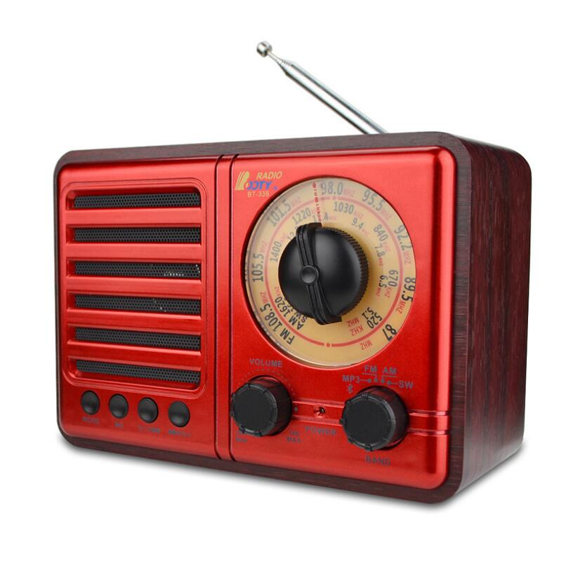 2021 new FM AM SW retro bluetooth speaker wooden subwoofer with three-band radio AUX TF USB 2200mAH battery Speakers enlarge