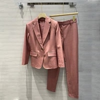 womens long sleeve blazer pants suit fashion office ladies two piece set outfits autumn jacket