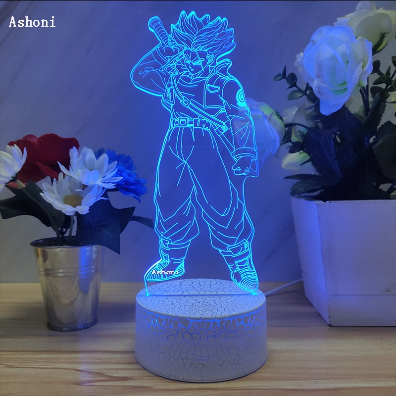 Dragon Ball  Z Super Saiyan Torankusu Figure 3D Lamp Table Lamps USB Cable Night Light 7 Colors Touch Base Lamp Kids Gift Trunks