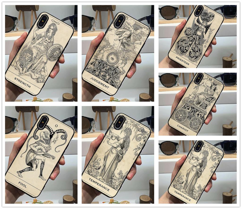 Funda de teléfono de Tarot Neon Card Meanings moda nuevo negro suave silicona Tpu funda para iPhone 11 Pro Max 6 7 8plus 5S 5 X XS XR XSMax