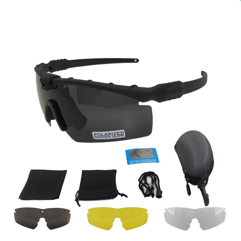 Outdoor Photochromic sunglasses 4 lens Ballistic Polarized goggles Protection Tactical Military glas