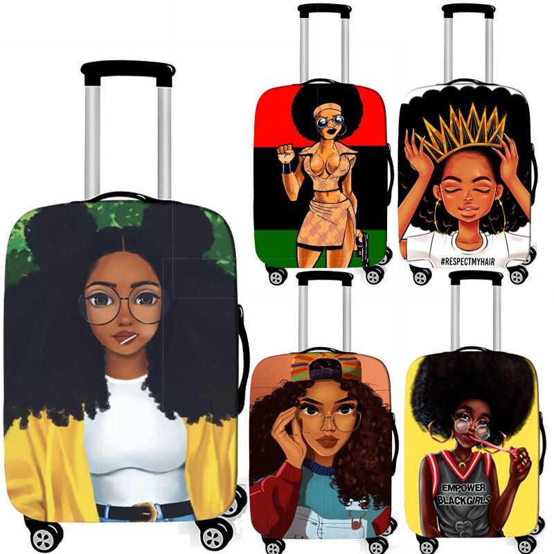 Cubierta africana para equipaje de chica, cubiertas Afro para equipaje de mujer, accesorios de viaje, cubierta de carrito elástica, cubierta para maleta de 18-32 pulgadas