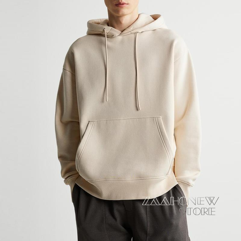 ZAAHONEW 2021 جديد الخريف الشتاء الرجال أبيض أسود قمصان سويت شيرت بقلنسوة عادية الصلبة الأساسية فضفاض الذكور البلوفرات الدافئة