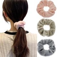 cute plush elastic hair band autumn winter warm hair scrunchies for women fashion female rubber band sweet loop hair accessories