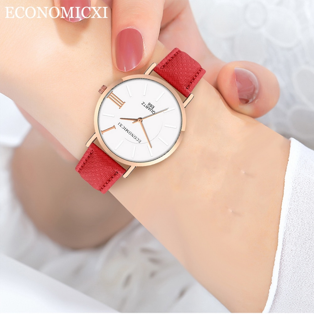 Neue Mode frauen Armbanduhr Analog Quarz Casual Uhr Minimalismus Runde Zifferblatt mit PU Lederband LXH