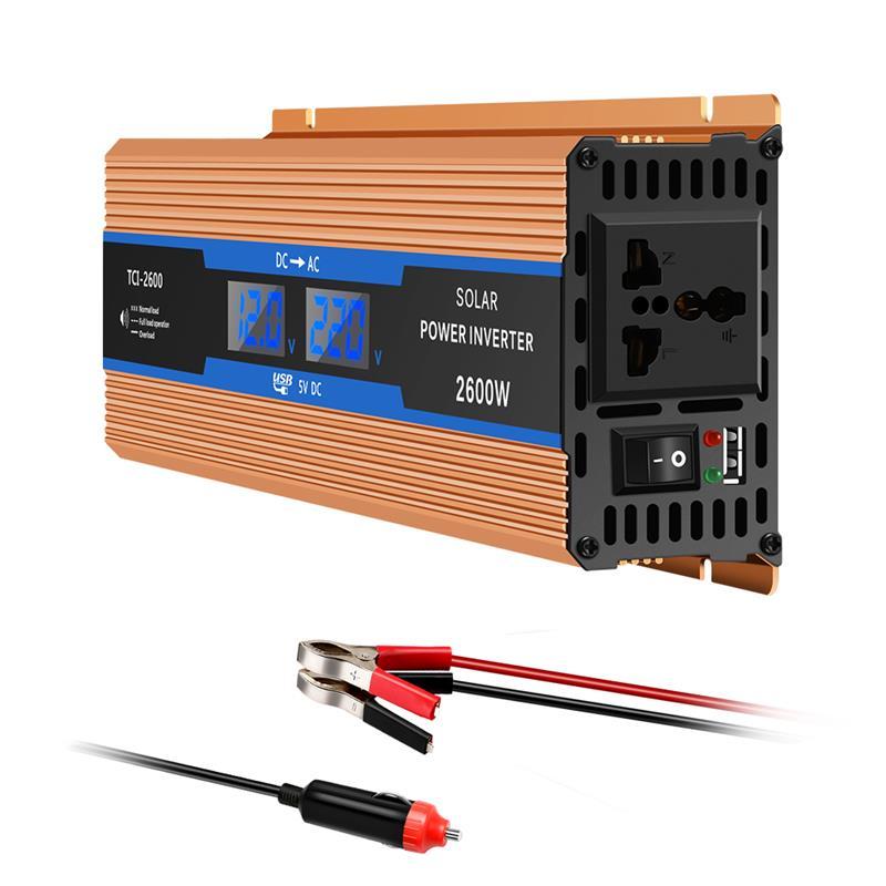 Inversor do carro 2600 w dc 12 v para ac 220 v conversor de carregador de potência do inversor durável alimentação resistente switchvehicle