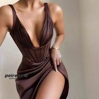 sexy halter dress solid color deep womens slit dress sexy deep v neck exposed back irregular dresses for women2021party dress