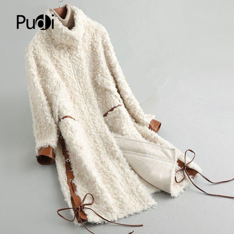 معطف نسائي شتوي من الصوف الحقيقي الدافئ PUDI معطف نسائي طويل من فرو الأغنام باركاس A19098