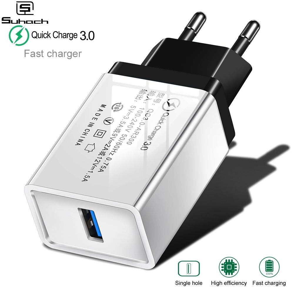 Suhach Quick Charge 3,0 USB Ladegerät QC 3,0 QC Turbo Schnelle Lade EU Reise Ladegerät Für Xiao mi mi 9 huawei P30 Handy
