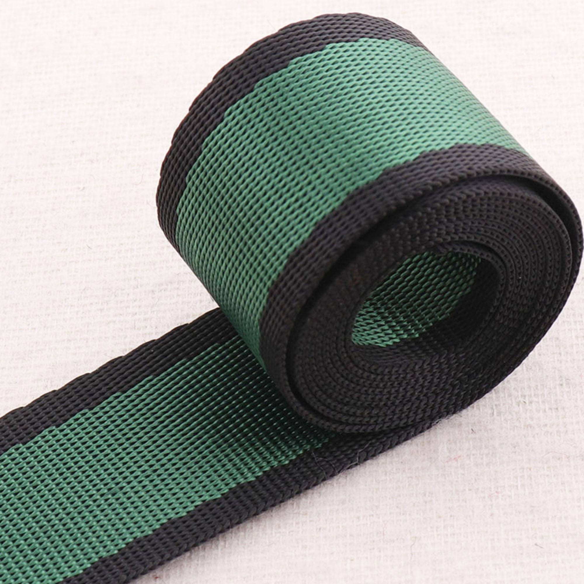 "Correas verde oscuro suave rayas bolsa cinta borde negro Bolsa correas para bolso bolsos bolsa con cinta manija 1 ""(25mm)"