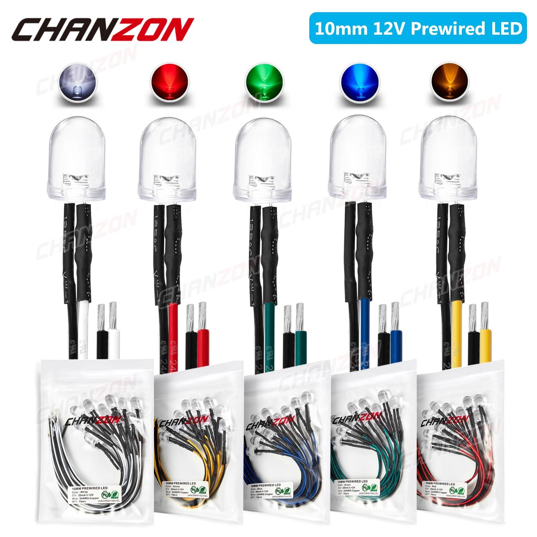 Diodo emisor de luz LED precableado 10 Uds 10mm DC 5V 6V 9V 12V blanco brillante rojo verde azul Amarillo Pre resistencia con cable bombilla de lámpara
