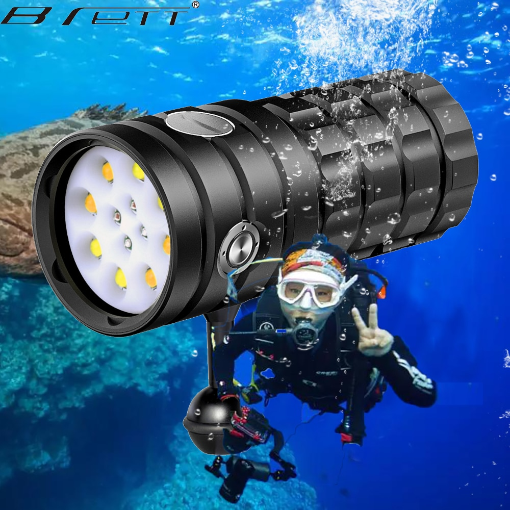 Professional Diving Flashlight 8 XHP50 25000Lumens100m Waterproof Underwater Torch Camera Video Photography Tactical Light